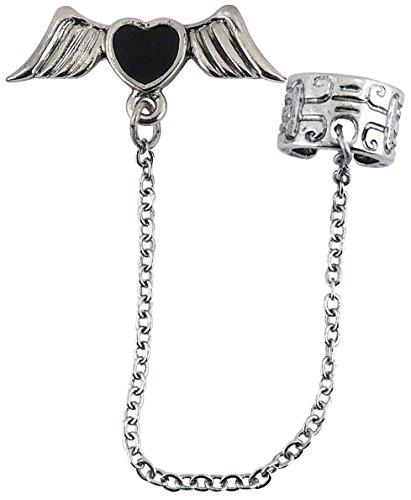 Widmann–Ohrring Gothic Herz mit Flügel Womens, schwarz, One Size, vd-wdm2945h