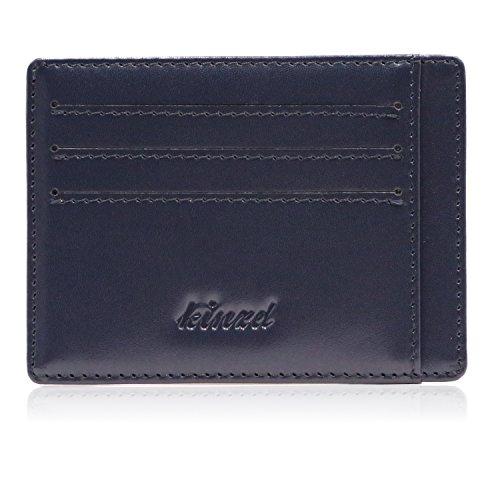 Kinzd Slim RFID Blocking Front Pocket Leather Wallet for Men Mini Card Holder (Dark Blue)