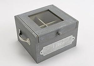 Boîte à thé moderne grise avec poignées et 4 compartiments 15x10x14