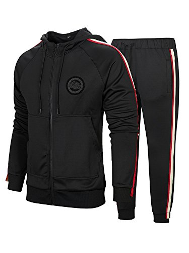 Manluodanni Homme Ensemble Jogging Sports Survêtement Manches Longues Zipper Sweat à Capuche Loisir Et Pantalons Slim 2 Pièces en Polyeste Noir M