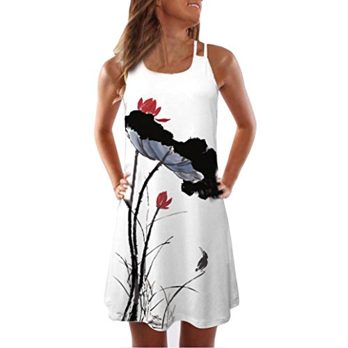 Kleid Damen,Binggong Frauen Lose Sommer Vintage ärmellose 3D Blumendruck Bohe Tank Short Mini Dress Sling Abendkleid Reizvoller Casual Rock Hot (2XL, Weiß 1)