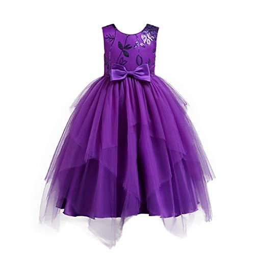 Fiore ragazze abito lungo principessa pageant bambina vestito da cerimonia per la senza maniche carnevale festa nozze sera tutu arco qinsling