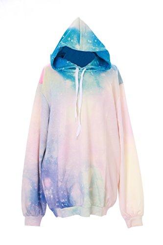 T-543 Fantasy Universum Sky Rainbow bunt Pastel Goth Lolita Pullover Kapuzen-Sweatshirt Harajuku Japan Kawaii-Story (Goth Fashion)