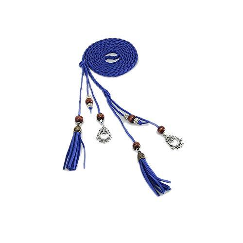 KaariFirefly Kunstleder geflochtene Perlen Quasten Dünn Skinny Taille Seil Gürtel Selbstbinden Taille Kleid Decor, blau