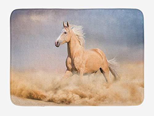 OQUYCZ Horses Bath Mat, Palomino Horse in Sand Desert with Long Blond Male Hair Power Wild Animal, Plush Bathroom Decor Mat with Non Slip Backing, 23.6 W X 15.7 W Inches, Purple Grey Peach Power-mat Apple