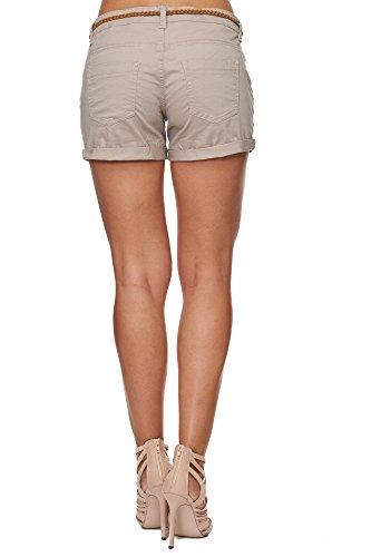 SUBLEVEL Damen D6055Z60917EK-BS Chino Shorts mit Gürtel Beige