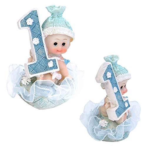 Baby- Figur zum 1. Geburtstag, Tortenfigur Kuchen Topper, Tischdekoration, 7 cm (Junge - blau) (Geburtstag Kuchen-ideen Jungen Für)