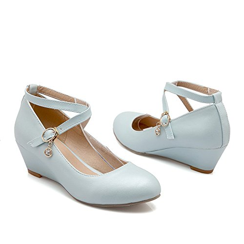 VogueZone009 Femme Matière Mélangee Boucle à Talon Correct Couleur Unie Chaussures Légeres Bleu