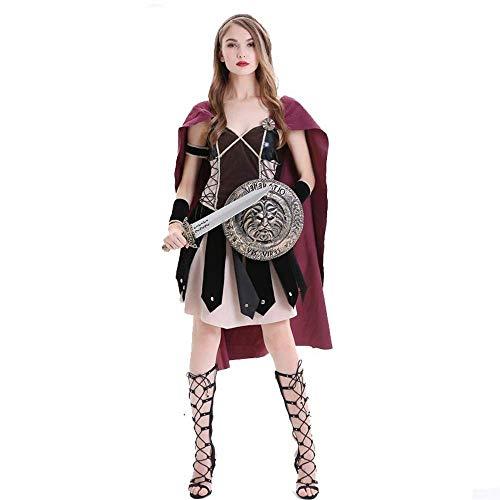 PIN Halloween Kostüme Damen Halloween Kostüm Rollenspiel Kostüm Römische Kriegerin Cos Spanisches Gladiatorenkostüm,M (Römische Kriegerin Damen Kostüm)