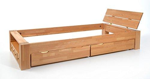 ALASKA Einzelbett Buche massiv mit Schubladen, 120x200 ✓ Handarbeit ✓ Robust ✓ Zeitlos | Balkenbett mit Aufbewahrung als natürliches Schlafzimmer-Möbel | Bettgestell, Massivholz-Bett mit Kopfteil