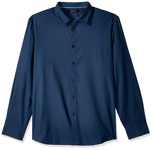 Button-down Woven Dress Shirt (AXIST Herren Long Sleeve Dobby Woven Shirt Button Down Hemd, Dress Blues, Mittel)