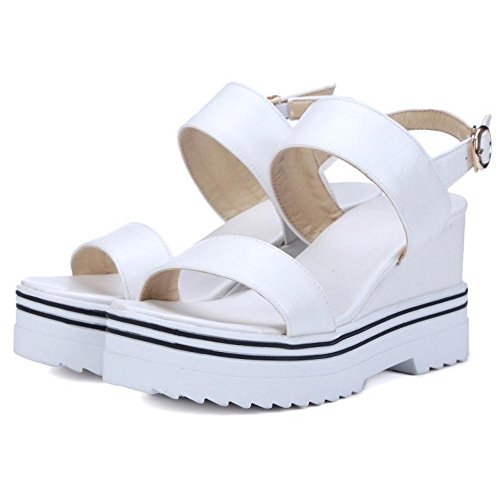 JOJONUNU Femmes Bout Ouvert Compensees Sandales white