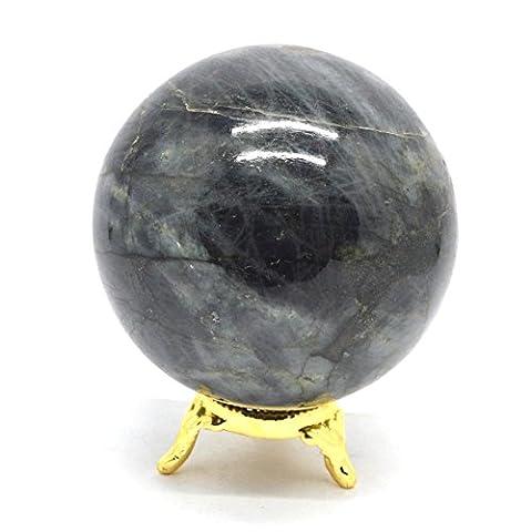 Cristaux de guérison Inde®: Labradorite naturelle 55–65mm Poli Boule Sphère Cristal Minéral métaphysique guérison Feng Shui Chakra Aura équilibre Pierre Livraison gratuite