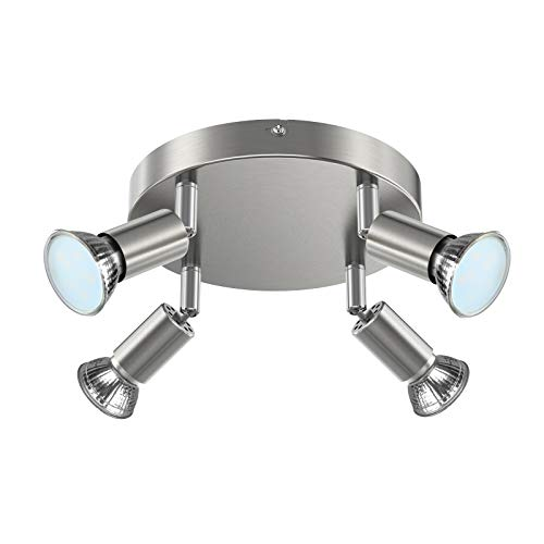 Creyer LED Deckenstrahler 4 Flammig, LED Deckenleuchte Schwenkbar, inkl. 4x4W GU10 LED Leuchtmittel, 400LM, Warmweiß, LED Deckenspot