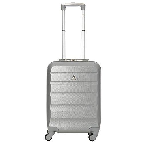 Aerolite Leichtgewicht ABS Hartschale 4 Rollen Handgepäck Trolley Koffer Bordgepäck Kabinentrolley Reisekoffer Gepäck, Genehmigt für Ryanair, easyJet, Lufthansa, Jet2 und viele mehr, Silber - 2