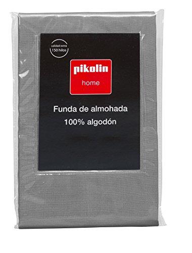 Pikolin Home - Almohadón, funda de almohada, 100% algodón, almohadas de 90 y 105cm, colorgris Todas...