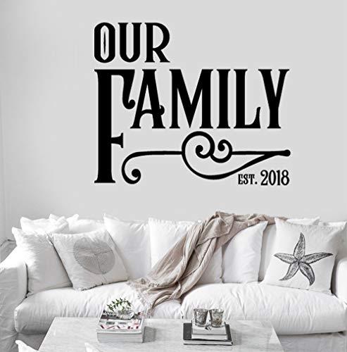 BENUTZERDEFINIERTE personalisierte unsere Familie gegründet Jahr Name Monogramm Wall Decal Sticker Wandhauptdekor Zitat Vinyl Schriftzug Zeichen Familie Schablone -