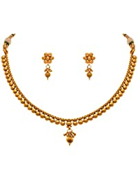 Jfl - Jewellery For Less Traditional Ethnic One Gram Gold Plated Delicate Necklace Set For Women