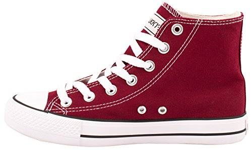 Elara Unisex Sneaker | Sportschuhe für Herren Damen | High Top Turnschuh Textil Schuhe 36-47 Bordorot