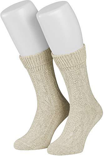 Tobeni 1 Paar Trachten Strümpfe kurz mit Umschlag und Zopfmuster Baumwolle-Leinen meliert für Damen und Herren Farbe Natur Meliert Grösse 43-44