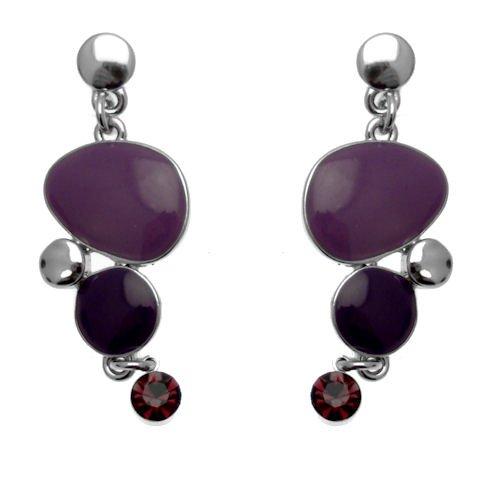 Zubehör erhältlich - Emaille Violett & Ohrringe mit Swarovski Kristallen (Silberton) - inklusive Geschenkbeutel