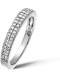 Naava Bague Femme - Diamant 0.005 Cts - Or blanc 375/1000 (9 cts)