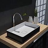 Rechteckiges Aufsatzwaschbecken Aqua PB2011B aus Mineralguss (Solid Stone) - 48 x 32 x 10,5 cm - Farbe wählbar, Mineralguss Waschbecken:Schwarz/Weiß Matt