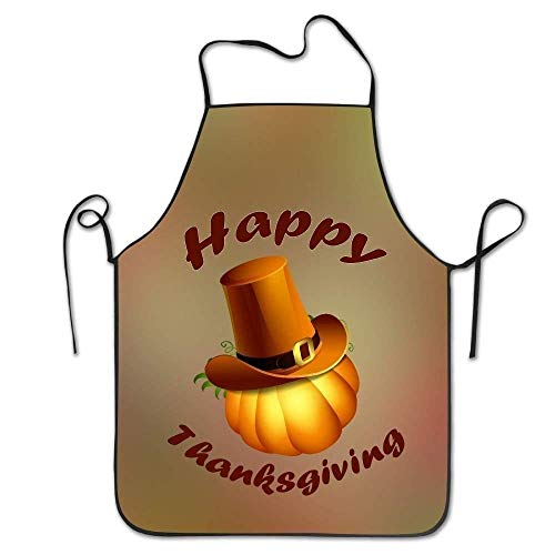 ERCGY 2019 Apron Personalized Aprons Happy Thanksgiving Hat Lock Edge Hen New Unisex Cooking Apron (My Halloween Happy 2019)