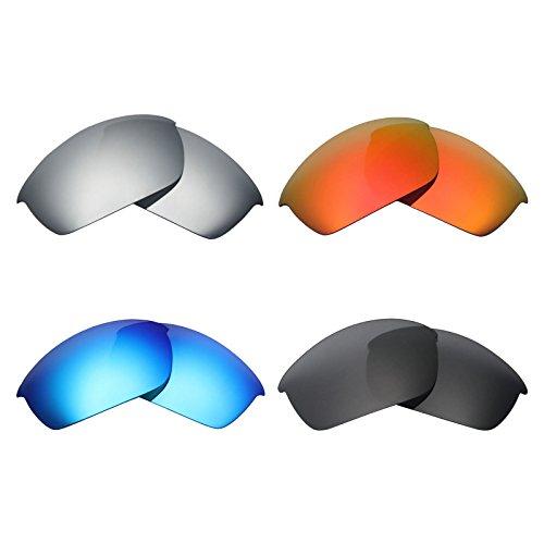 MRY 4Paar Polarisierte Ersatz-Gläser für Oakley Flak Jacket Sunglasses-Stealth schwarz/fire rot/Ice blau/Silber Titan