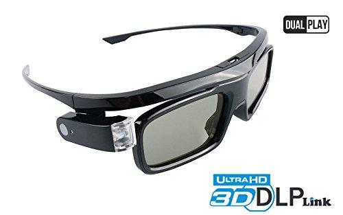Hi-SHOCK DLP Link 3D-Brille Black Jade | Kompatibel mit 3D-DLP Beamer von Acer, BenQ, Optoma, Viewsonic, LG | komp. mit PPA5610 / E4W / DGD5 / ZD302 - Dual Play 96-144 Hz wiederaufladbar
