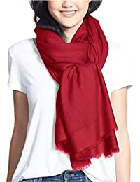 Prettystern - côté 230cm effet satin 100% laine pashmina étole couleur unie - sélection des couleurs