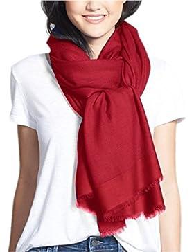 Prettystern - 230cm lado efecto satinado 100% de lana pashmina robó color liso - selección de color