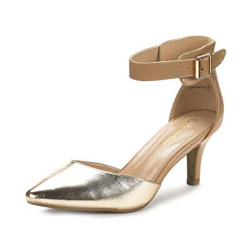 f3d52aba Dream Pairs Lowpointed Zapatos de Tacón Bajo Vestido para Mujer Desnudo  Dorado 39.5 EU