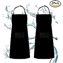 Delantal, delantal ajustable babero Waterdrop resistente con 2 bolsillos Cocina cocina jardinería barbacoa delantales, paquete 2 negro, para mujeres hombres chef por Shovan