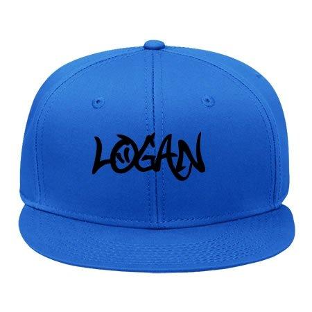 Fashion Baumwolle verstellbar Hip Hop Snapback Cap Logan Graffiti Hat (männlich/weiblich), damen unisex Herren, blau - Logan Baumwolle