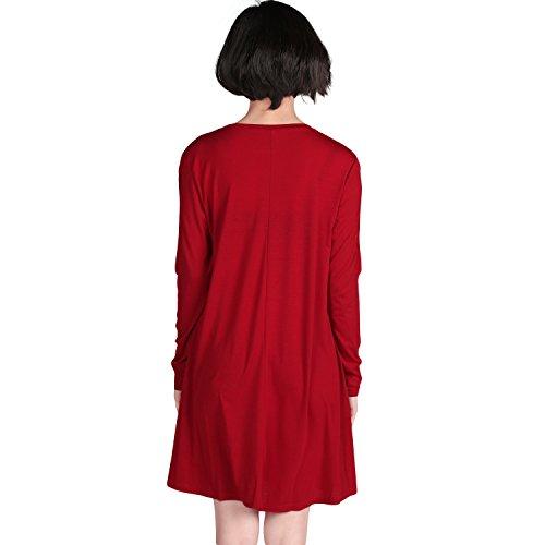 Chouette Femme Robe au Genou Manches Longues Elastique Uni Lâche Blouse T-shirt Oversize Party Bal Clubwear Cérémonie Soirée Printemps Eté Rouge