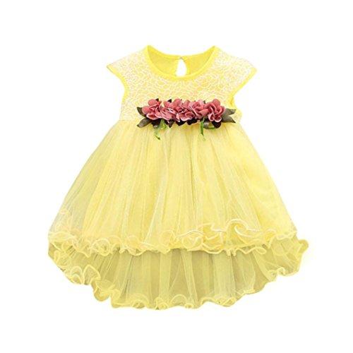 Outfits Sets Mädchen Janly 0-2 Jahre alt Kleinkind Tüll Kleider Baby Kleinkind Sommer Floral Prinzessin Kleid (0-6 Monate, Gelb) -