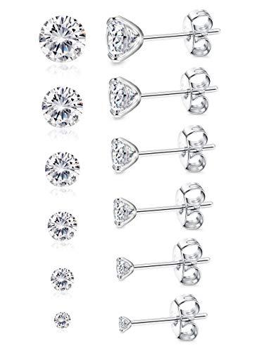 BESTEEL 6 Paar 925 Sterling Silber Ohrringes für Herren Damen Mädchen mit Zirkon Ohrringe Schmuck Elegant, 3-8 MM