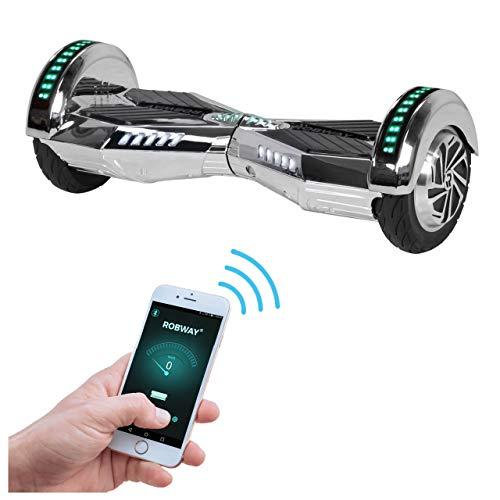 Robway W2 Hoverboard - Das Original - Samsung Marken Akku - Self Balance - Bluetooth - 2 x 350 Watt Motoren - 8 Zoll Räder (Silber Chrom) (Erwachsene Roller Motor Für)