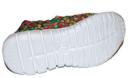 TMY de1370bambini Slipper/Slip ons scarpe basse, colore verde/rosa taglia: 24–35 Gruen/ Rosa