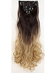 S-noilite® 60cm Full Clip tete dans les extensions de cheveux boucles Wavy 8 Pcs 18 clips Ombre brun foncé à blond cendré