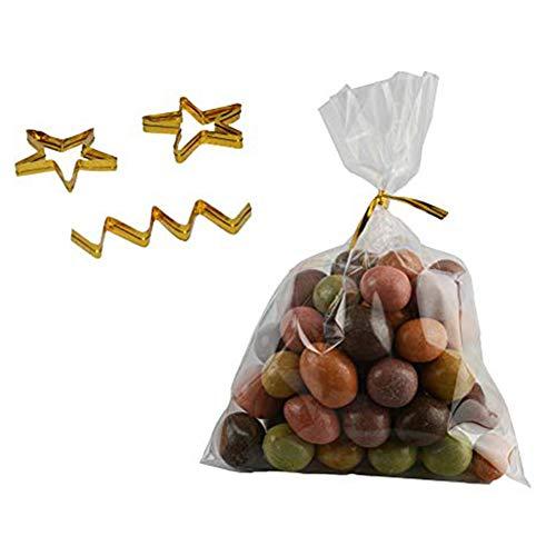 Ssowun Süßigkeitentüte Transparent 200 Stück, Tüte Durchsichtig Kegel Taschen Süßigkeitentüten Süßigkeiten Geschenk Verpackung Plastiktüten mit Band EINWEG Verpackung
