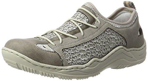 Rieker Damen L0571 Sneakers, Grau Silber/silverflower/Staub / 43, 39 EU