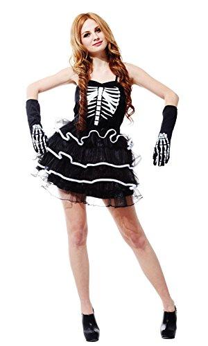 stume cosplay service _Sorcière Sorcière Halloween party party jeu de rôle,le squelette féminin jupe.,F (Costume D ' Homme Halloween)