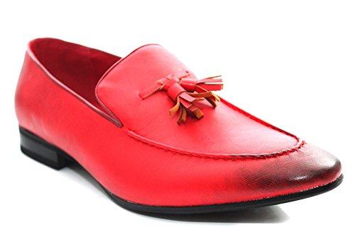Giovanni pour homme Rouge Smart Penny gland décoratif sur Mocassins. Antidérapant Chaussures Taille UK 6–12 Rouge - rouge