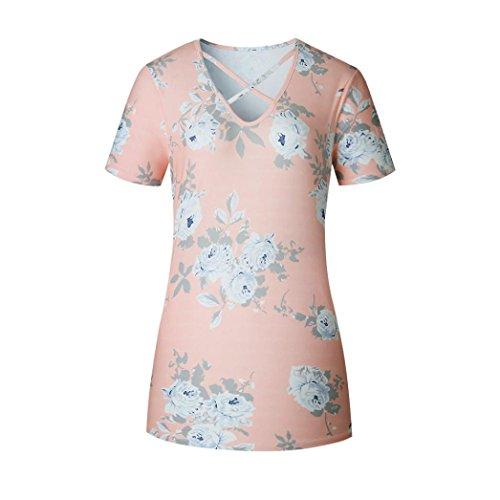 Bluestercool Femmes Blouses en V à encolure imprimée à imprimé floral à manches courtes Rose