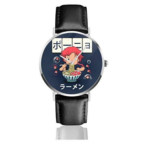 Unisex Business Casual Ponyo Goldfish Ramen Uhren Quarzuhr Lederband schwarz für Männer Frauen Young Collection Geschenk -