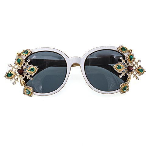Yiph-Sunglass Sonnenbrillen Mode Damen Sonnenbrille Barock Kristall Blume für Frauen Exquisite Kreuz Dekoration Handgefertigte Polarisierte Brillen Zeigen Stil Sonnenbrille