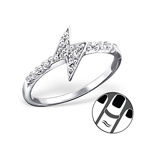 Stering Silver Thunderbolt Midi Ring with Cubic Zirconia