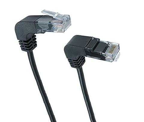 Jafsal UK RJ45Cat5e Angle droit vers Angle droit Patch LAN Cuivre câble pour ordinateur portable PC Ordinateur CPU au modem ADSL routeur hub 2metre